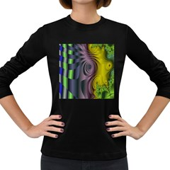 Fractal In Purple Gold And Green Women s Long Sleeve Dark T Shirts
