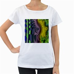 Fractal In Purple Gold And Green Women s Loose Fit T Shirt (white)