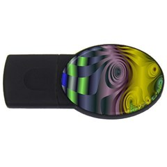 Fractal In Purple Gold And Green USB Flash Drive Oval (4 GB)
