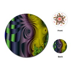 Fractal In Purple Gold And Green Playing Cards (round)