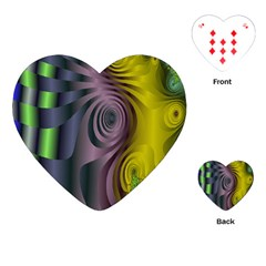 Fractal In Purple Gold And Green Playing Cards (Heart)