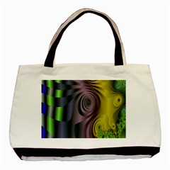 Fractal In Purple Gold And Green Basic Tote Bag