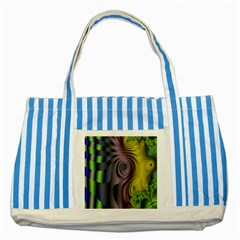 Fractal In Purple Gold And Green Striped Blue Tote Bag
