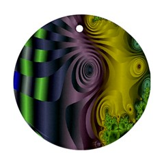 Fractal In Purple Gold And Green Round Ornament (Two Sides)