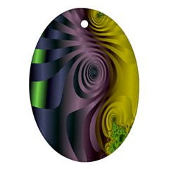 Fractal In Purple Gold And Green Oval Ornament (two Sides)