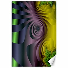 Fractal In Purple Gold And Green Canvas 12  X 18
