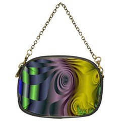 Fractal In Purple Gold And Green Chain Purses (one Side)