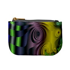 Fractal In Purple Gold And Green Mini Coin Purses