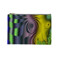 Fractal In Purple Gold And Green Cosmetic Bag (large)