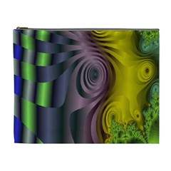 Fractal In Purple Gold And Green Cosmetic Bag (xl)
