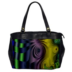 Fractal In Purple Gold And Green Office Handbags