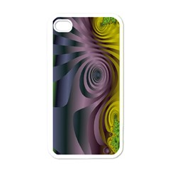 Fractal In Purple Gold And Green Apple iPhone 4 Case (White)