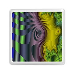 Fractal In Purple Gold And Green Memory Card Reader (square)