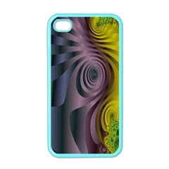 Fractal In Purple Gold And Green Apple Iphone 4 Case (color)