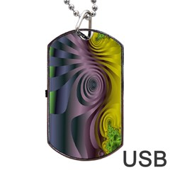 Fractal In Purple Gold And Green Dog Tag Usb Flash (one Side)