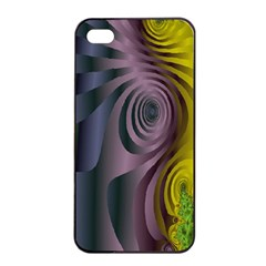 Fractal In Purple Gold And Green Apple Iphone 4/4s Seamless Case (black)