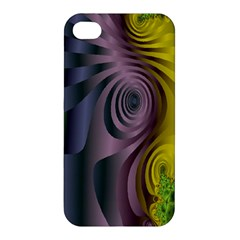 Fractal In Purple Gold And Green Apple iPhone 4/4S Premium Hardshell Case