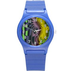 Fractal In Purple Gold And Green Round Plastic Sport Watch (S)