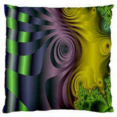 Fractal In Purple Gold And Green Large Cushion Case (One Side)