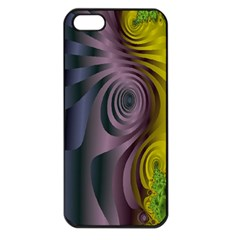 Fractal In Purple Gold And Green Apple iPhone 5 Seamless Case (Black)