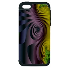 Fractal In Purple Gold And Green Apple iPhone 5 Hardshell Case (PC+Silicone)