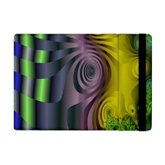 Fractal In Purple Gold And Green Apple iPad Mini Flip Case