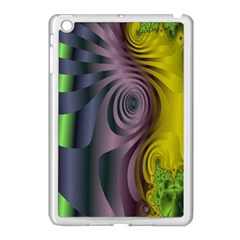 Fractal In Purple Gold And Green Apple iPad Mini Case (White)