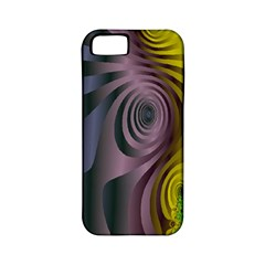 Fractal In Purple Gold And Green Apple iPhone 5 Classic Hardshell Case (PC+Silicone)