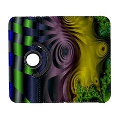 Fractal In Purple Gold And Green Galaxy S3 (Flip/Folio)