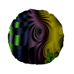 Fractal In Purple Gold And Green Standard 15  Premium Round Cushions