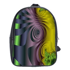 Fractal In Purple Gold And Green School Bags (XL)