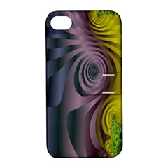 Fractal In Purple Gold And Green Apple Iphone 4/4s Hardshell Case With Stand