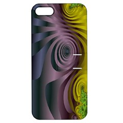 Fractal In Purple Gold And Green Apple iPhone 5 Hardshell Case with Stand