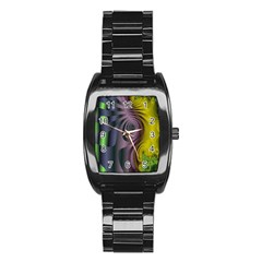 Fractal In Purple Gold And Green Stainless Steel Barrel Watch