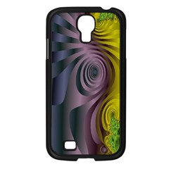 Fractal In Purple Gold And Green Samsung Galaxy S4 I9500/ I9505 Case (Black)