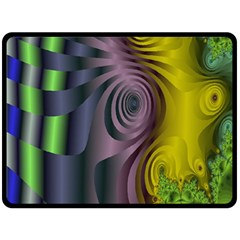 Fractal In Purple Gold And Green Double Sided Fleece Blanket (large)