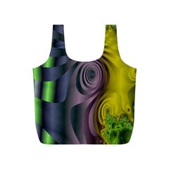 Fractal In Purple Gold And Green Full Print Recycle Bags (s)