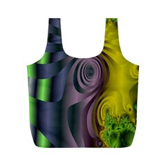 Fractal In Purple Gold And Green Full Print Recycle Bags (M)