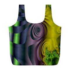 Fractal In Purple Gold And Green Full Print Recycle Bags (L)