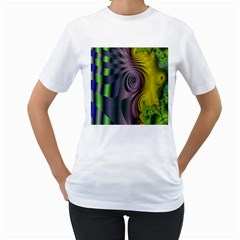 Fractal In Purple Gold And Green Women s T-Shirt (White)