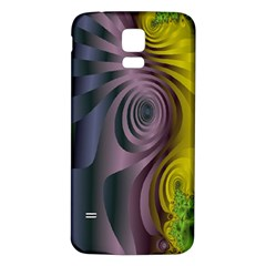 Fractal In Purple Gold And Green Samsung Galaxy S5 Back Case (White)