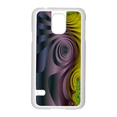 Fractal In Purple Gold And Green Samsung Galaxy S5 Case (White)
