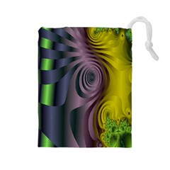 Fractal In Purple Gold And Green Drawstring Pouches (Large)