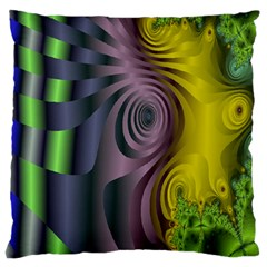 Fractal In Purple Gold And Green Standard Flano Cushion Case (One Side)