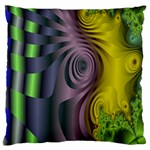 Fractal In Purple Gold And Green Large Flano Cushion Case (Two Sides) Front