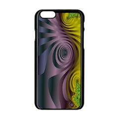 Fractal In Purple Gold And Green Apple iPhone 6/6S Black Enamel Case