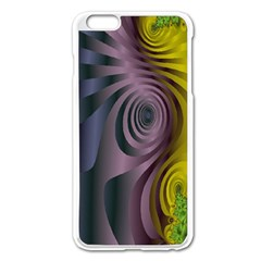 Fractal In Purple Gold And Green Apple iPhone 6 Plus/6S Plus Enamel White Case