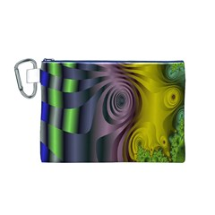Fractal In Purple Gold And Green Canvas Cosmetic Bag (M)