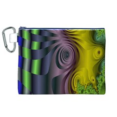 Fractal In Purple Gold And Green Canvas Cosmetic Bag (XL)