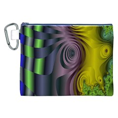 Fractal In Purple Gold And Green Canvas Cosmetic Bag (XXL)